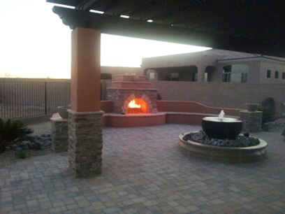 Beautiful Outdoor Backyard Porch with Fireplace