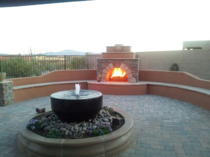 Water Fountain and Fireplace